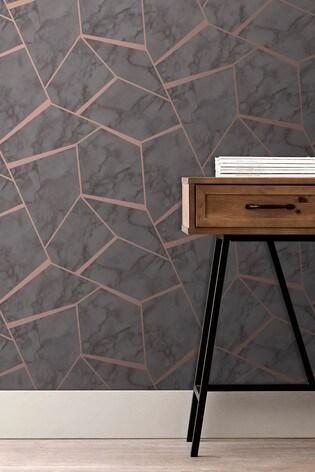 Fine Décor Grey UK Marblesque Fractal Wallpaper