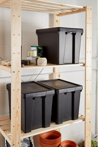 Set of 3 Wham Bam 24L Heavy Duty Plastic Recycled Boxes With Lid