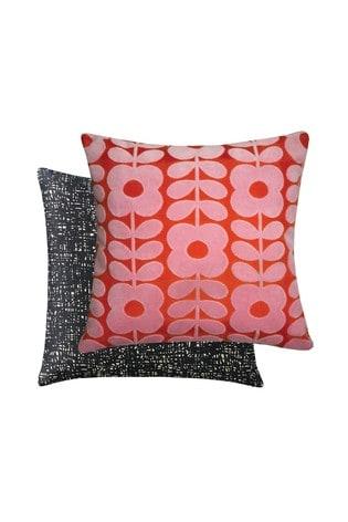 Orla Kiely Red Flower Stem Velvet Cushion