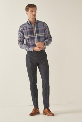 Blue/Tan Check Regular Fit Single Cuff Easy Iron Button Down Oxford Shirt