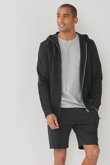 Black Slim Fit Zip Pocket Jersey Shorts