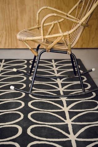 Orla Kiely Brown Linear Stem Geo Wool Rug
