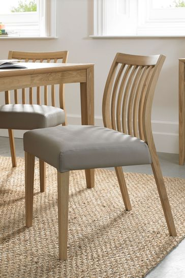 Set of 2 Bergen Oak Low Slat Bonded Leather Dining Chairs By Bentley Designs