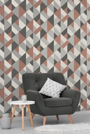 Urban Walls Copper Structured Geo Wallpaper