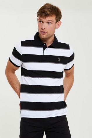 U.S. Polo Assn. Black Striped Polo Shirt