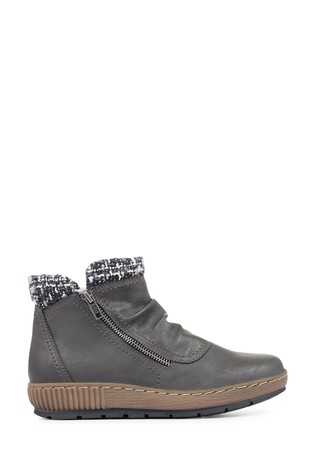 Pavers Grey Ladies Wedge Ankle Boots