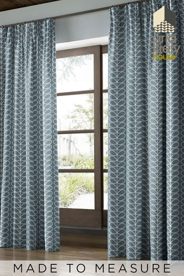 Orla Kiely Grey Linear Stem Lined Made To Measure Curtains