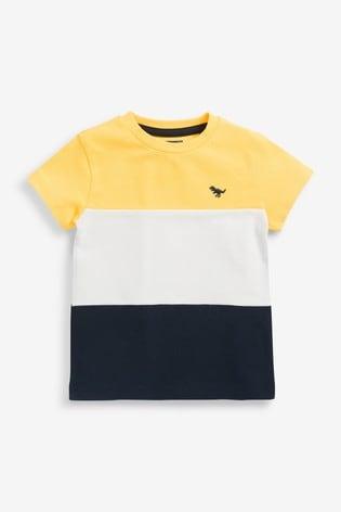 Yellow/Navy Colourblock Pique T-Shirt (3mths-7yrs)