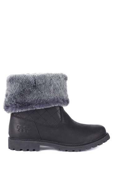 Barbour® Black Leather Waterproof Faux-Fur Lined Hareshaw Boots