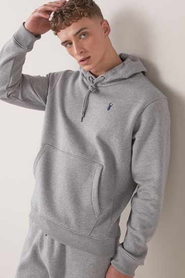 Grey With Stag Overhead Hoodie Jersey