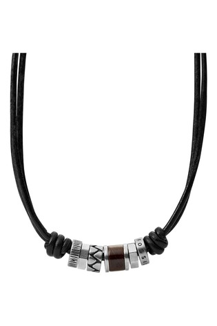 Fossil Black Cord Necklace