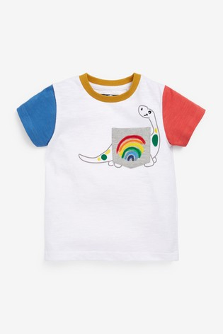 Ecru Rainbow Dino Pocket T-Shirt (3mths-7yrs)