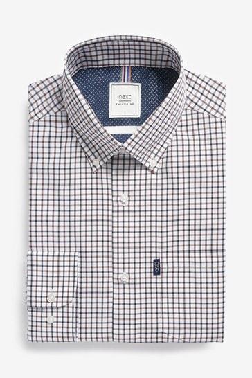 Yellow Ochre Tattersall Regular Fit Single Cuff Easy Iron Button Down Oxford Shirt