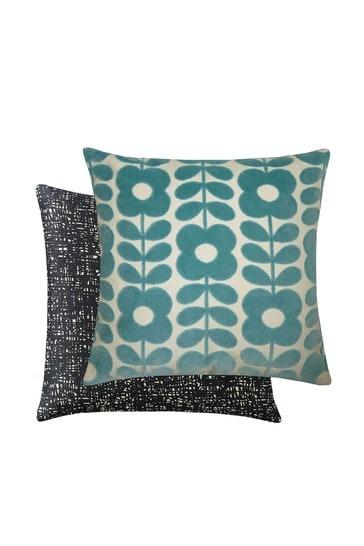 Orla Kiely Green Flower Stem Velvet Cushion