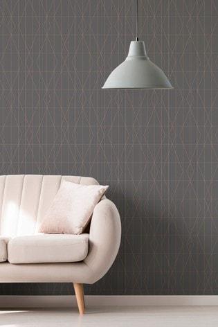 Urban Walls Grey Deco Diamond Geo Wallpaper