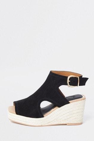 River Island Black Square Toe Cut-Out Shoes