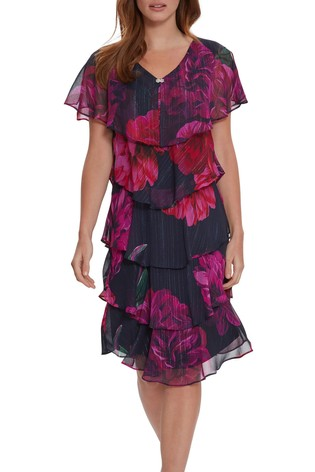 Gina Bacconi Franca Chiffon Tiered Dress