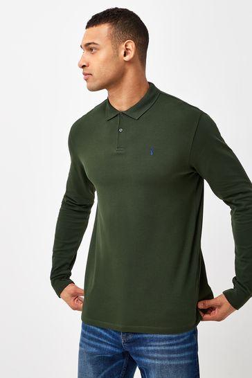 Dark Khaki Green Long Sleeve Pique Polo Shirt