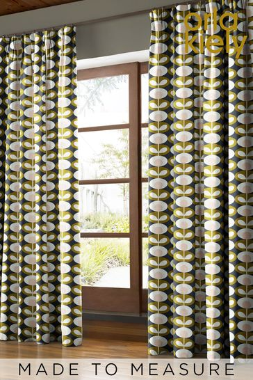 Orla Kiely Green Oval Flower Made To Measure Curtains