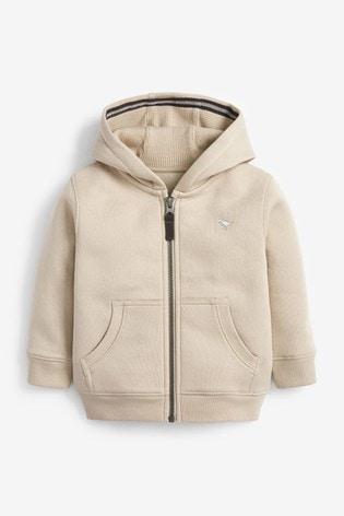 Stone Essential Zip Through Hoodie (3mths-7yrs)