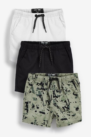 Monochrome 3 Pack Pull-On Shorts (3mths-7yrs)