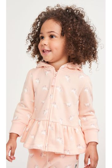 Peach Unicorn Hoody Soft Touch Jersey (3mths-7yrs)
