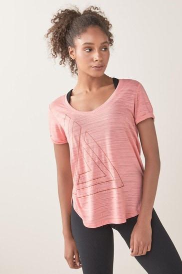 Pink Logo Short Sleeve V-Neck Sports Top