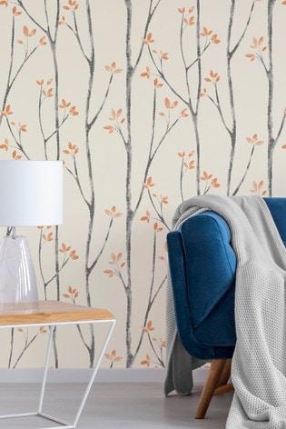 Urban Walls Orange Scandi Tree Wallpaper