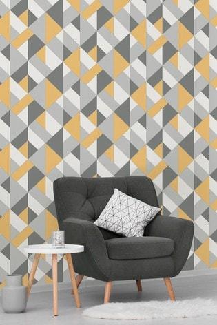 Urban Walls Yellow Structured Geo Wallpaper