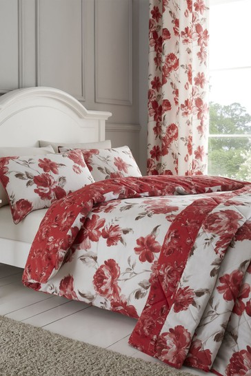 Catherine Lansfield Red Painted Floral Duvet Cover and Pillowcase Set