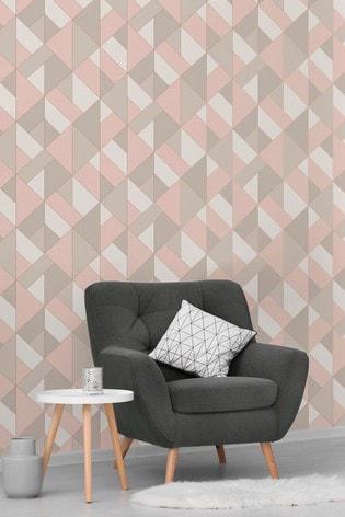 Urban Walls Rose Gold Structured Geo Wallpaper