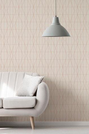 Urban Walls Cream Deco Diamond Geo Wallpaper