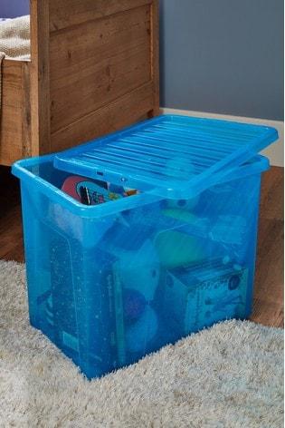 Set of 2 Wham Crystal 80L Plastic Storage Box & Lid