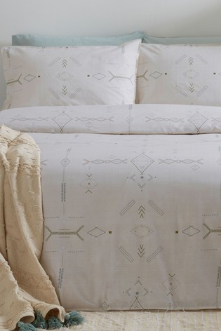 The Linen Yard Natural Mini Inka Duvet Cover and Pillowcase Set