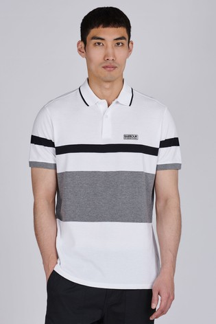 Barbour International White Clax Stripe Polo Shirt