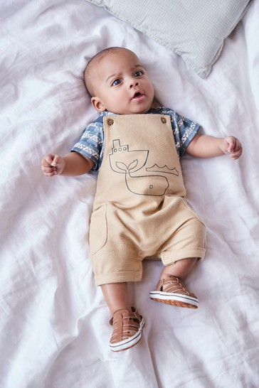 Blue Organic Cotton Whale Dungaree and Bodysuit Set (0-18mths)