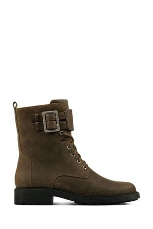 Clarks Dark Olive Lea Orinoco2 Lace Boots