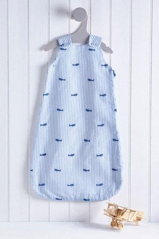 Blue Seersucker Planes 1 Tog Sleep Bag