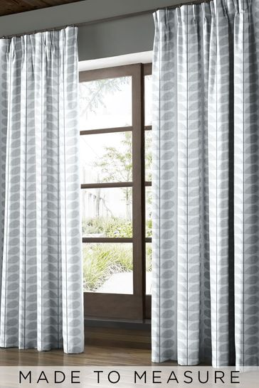 Orla Kiely Grey Scribble Stem Made To Measure Curtains