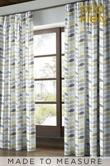 Orla Kiely Green Scribble Stem Made To Measure Curtains
