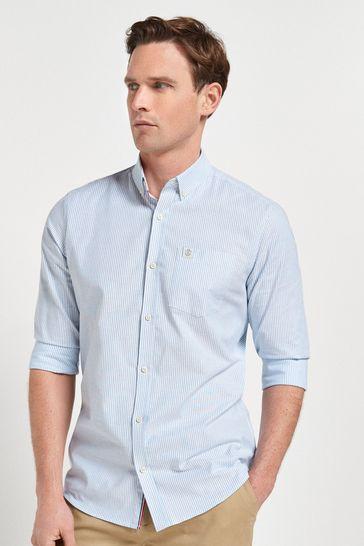 Blue Stripe Slim Fit Long Sleeve Stretch Oxford Shirt