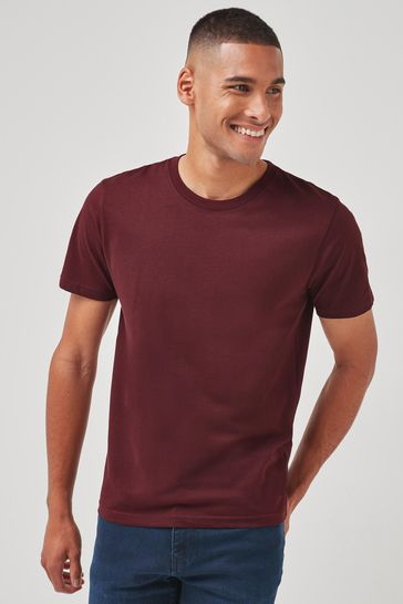 Maroon Red Slim Fit Crew Neck T-Shirt