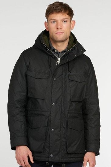 Barbour® Black Nautic Hooded Wax Jacket