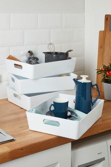 Set of 4 Wham Studio Large Rectangle Slim Plastic Storage Baskets