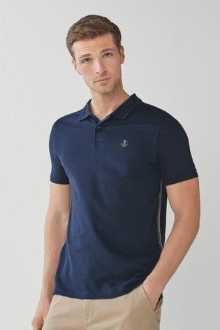 Navy Side Stripe Polo