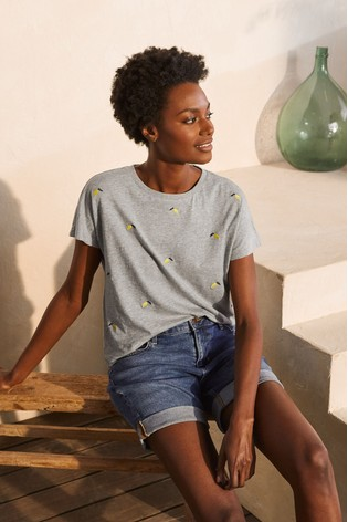 Boden Grey Lena Embroidered Jersey T-Shirt