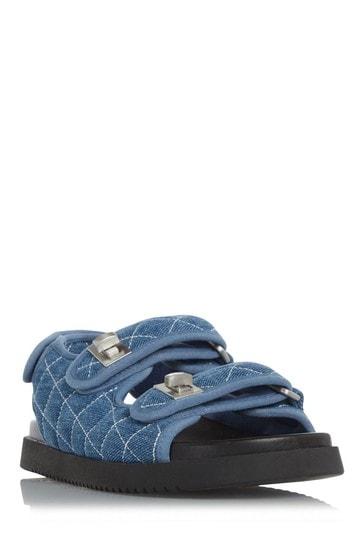 Dune London Blue Lockstockk Double Strap Flat Sandals