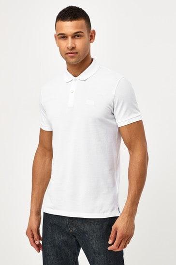 BOSS White Pallas Logo Polo Shirt