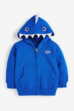 Blue Shark Zip Through Hoodie (3mths-7yrs)