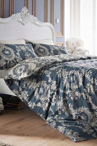 Jeff Banks Blue Pour La Maison Chateau 200 Thread Count Duvet Cover and Pillowcase Set